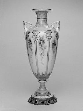 Worcester Royal Porcelain Co. (founded 1751). <em>Vase, shape 1822</em>, 1895. Porcelain, bronze, 17 x 6 7/8 x 6 in. (43.2 x 17.5 x 15.3 cm). Brooklyn Museum, Gift of the Estate of Harold S. Keller, 1999.152.35. Creative Commons-BY (Photo: Brooklyn Museum, 1999.152.35_bw.jpg)