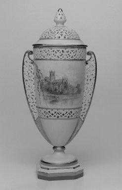 Grainger and Co.. <em>Vase and Cover</em>, before 1889. Porcelain, 11 x 5 x 3 5/8 in. (27.9 x 12.7 x 9.2 cm). Brooklyn Museum, Gift of the Estate of Harold S. Keller, 1999.152.48a-b. Creative Commons-BY (Photo: Brooklyn Museum, 1999.152.48a-b_bw.jpg)