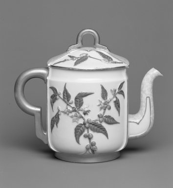 Worcester Royal Porcelain Co. (founded 1751). <em>Teapot with Lid</em>, 1884. Porcelain, 6 5/16 x 7 3/8 x 4 5/8 in. (16.1 x 18.7 x 11.7 cm). Brooklyn Museum, Gift of the Estate of Harold S. Keller, 1999.152.62a-b. Creative Commons-BY (Photo: Brooklyn Museum, 1999.152.62a-b_bw.jpg)