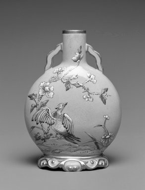 Worcester Royal Porcelain Co. (founded 1751). <em>Vase</em>, ca. 1880. Porcelain, 5 1/4 x 3 5/8 x 1 3/4 in. (13.3 x 9.2 x 4.4 cm). Brooklyn Museum, Gift of the Estate of Harold S. Keller, 1999.152.6. Creative Commons-BY (Photo: Brooklyn Museum, 1999.152.6_bw.jpg)
