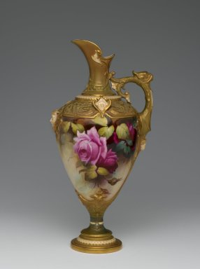 Royal Crown Derby Porcelain Co. (founded 1750). <em>Ewer</em>, ca. 1910. Porcelain, 12 1/4 x 6 x 5 1/8 in. (31.1 x 15.3 x 13 cm). Brooklyn Museum, Gift of the Estate of Harold S. Keller, 1999.152.84. Creative Commons-BY (Photo: Brooklyn Museum, 1999.152.84_side1_PS2.jpg)