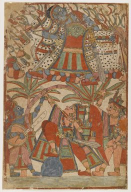 <em>Page from a Ramayana Series</em>, ca. 1850. Opaque watercolor on paper, 18 5/8 x 12 1/2 in.  (47.3 x 31.8 cm). Brooklyn Museum, Purchased with funds given by Dr. Bertram H. Schaffner, 1999.19 (Photo: Brooklyn Museum, 1999.19_IMLS_PS4.jpg)