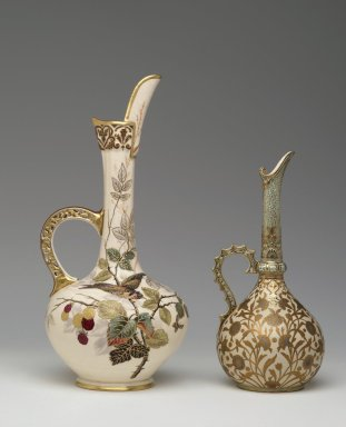 Edward Lycett (American, born England, 1833-1910). <em>Ewer</em>, ca. 1885. Glazed porcelain, 16 1/2 x 8 x 8 in.  (41.9 x 20.3 x 20.3 cm). Brooklyn Museum, Gift of Emma and Jay Lewis in honor of Kevin L. Stayton, 1999.1. Creative Commons-BY (Photo: , 1999.1_1999.152.110_PS2.jpg)