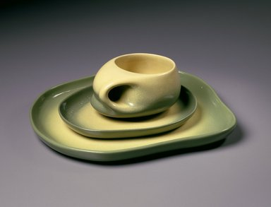 Tamac Pottery (in operation 1946-1973). <em>Plate, Cup and Saucer</em>, mid-20th century. Glazed earthenware, saucer:  1 x 10 x 9 in.  (2.5 x 26.7 x 22.9 cm);  . Brooklyn Museum, Gift of Roy R. Eddey and Dr. Joel E. Hershey, 1999.23.3a-b. Creative Commons-BY (Photo: , 1999.23.2_1999.23.3a-b_SL3.jpg)