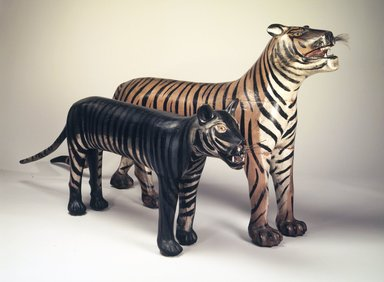 Augustus Aaron Wilson. <em>Tiger</em>, 1931. Painted wood, wire, 24 1/2 x 9 x 86 in. (62.2 x 22.9 x 218.4 cm). Brooklyn Museum, Gift of the Guennol Collection, 1999.26.1. Creative Commons-BY (Photo: , 1999.26.1_1999.26.2.jpg)