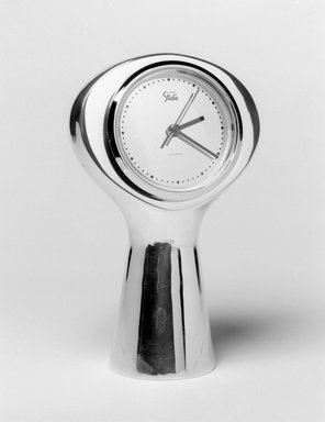 Karim Rashid (Canadian, born Egypt, 1960). <em>Tower Clock</em>, 1996. Polished metal alloy, 6 1/2 x 4 x 2 3/4 in. (16.5 x 10.2 x 7 cm). Brooklyn Museum, Gift of Nambé Studio, 1999.27.3. Creative Commons-BY (Photo: Brooklyn Museum, 1999.27.3_bw.jpg)