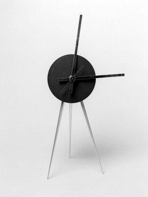 Karim Rashid (Canadian, born Egypt, 1960). <em>Abaxial Clock</em>, 1992. Aluminum and other metals, 9 x 4 1/4 x 4 1/4 in. (22.9 x 10.8 x 10.8 cm). Brooklyn Museum, Gift of Karim Rashid, 1999.28.8. Creative Commons-BY (Photo: Brooklyn Museum, 1999.28.8_bw.jpg)