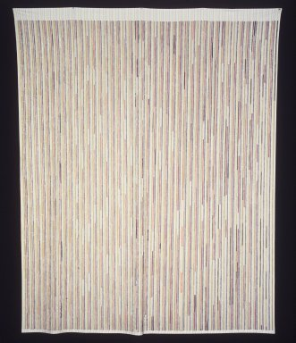 Polly Apfelbaum (American, born 1956). <em>Between the Lines (Thin)</em>, 1995. Velvet, cotton sheeting, 108 x 81 in. (274.3 x 205.7 cm). Brooklyn Museum, Gift of Marsha Gordon, Stafford Broumand, and Nina and Frank Moore, 1999.31. © artist or artist's estate (Photo: Brooklyn Museum, 1999.31_transp5698.jpg)