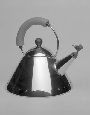 Michael Graves (American, 1934-2015). <em>Kettle with Bird-Shaped Whistle</em>, Designed 1985. Stainless steel, polyamide, 8 3/4 x 10 x 8 5/8 in. (22.2 x 25.4 x 21.9 cm). Brooklyn Museum, Gift of Alessi S.p.A., 1999.40.11a-c. Creative Commons-BY (Photo: Brooklyn Museum, 1999.40.11a-c_bw_SL1.jpg)