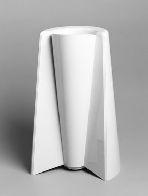 Enzo Mari. <em>Vase, 'Pago-Pago,' Model; 90052 Y</em>, designed, 1969. ABS plastic, height: (30.5 cm); diameter: (20.0 cm). Brooklyn Museum, Gift of Alessi S.p.A., 1999.40.16. Creative Commons-BY (Photo: Brooklyn Museum, 1999.40.16_bw.jpg)