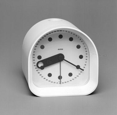 Joe Colombo (Italian, 1930-1971). <em>Clock, 'Optic,' Model 02</em>, Designed 1970. ABS plastic, Quartz movement, height: (8.0 cm); diameter: (8.0 cm). Brooklyn Museum, Gift of Alessi S.p.A., 1999.40.54. Creative Commons-BY (Photo: Brooklyn Museum, 1999.40.54_bw.jpg)