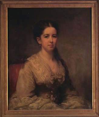 George Augustus Baker Jr. (American, 1821-1880). <em>Ella M. Clapp Southwick</em>, 1869. Oil on canvas, 30 x 24 7/8in. (76.2 x 63.2cm). Brooklyn Museum, Gift of the American Art Council, 1999.54.3 (Photo: Brooklyn Museum, 1999.54.3_transpc009.jpg)