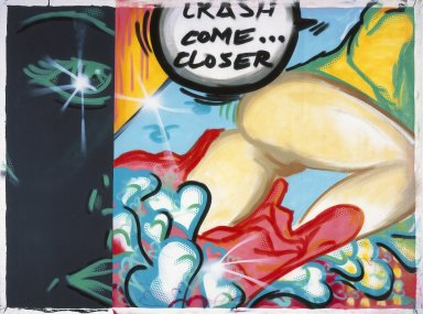 John Matos aka Crash (American, born 1961). <em>Crash Come Closer</em>. Spray paint on canvas, 52 1/4 x 70 5/8 in. (132.7 x 179.4 cm). Brooklyn Museum, Gift of Carroll Janis and Conrad Janis, 1999.57.10. © artist or artist's estate (Photo: Brooklyn Museum, 1999.57.10_reference_SL1.jpg)