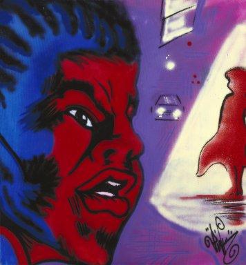 Sandra Fabara aka Lady Pink (American, born Ecuador, 1964). <em>The Black Dude</em>, 1983. Spray paint on canvas, 53 3/16 x 49 3/16 in. (135.1 x 124.9 cm). Brooklyn Museum, Gift of Carroll Janis and Conrad Janis, 1999.57.15. © artist or artist's estate (Photo: Brooklyn Museum, 1999.57.15_reference_SL1.jpg)