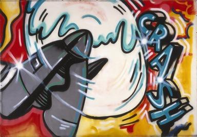 John Matos aka Crash (American, born 1961). <em>Aeroplane 1</em>, 1983. Spray paint on canvas, 71 1/4 x 103 in.  (181.0 x 261.6 cm). Brooklyn Museum, Gift of Carroll Janis and Conrad Janis, 1999.57.8. © artist or artist's estate (Photo: Brooklyn Museum, 1999.57.8_reference_SL1.jpg)
