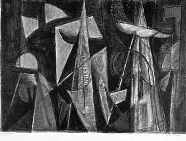 John von Wicht (American, born Germany, 1888-1970). <em>Harbor</em>. Lithograph, sheet: 13 1/4 x 20 in.  (33.7 x 50.8 cm);. Brooklyn Museum, Gift of Dr. Clark S. Marlor, 1999.62.2 (Photo: Brooklyn Museum, 1999.62.2_bw.jpg)
