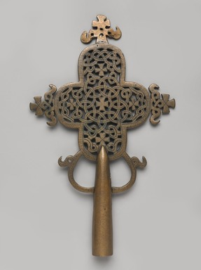 Amhara artist. <em>Processional Cross (qäqwami mäsqäl)</em>, 14th century. Copper alloy, 10 3/4 x 6 1/2 x 1 in.  (27.3 x 16.5 x 2.5 cm). Brooklyn Museum, Gift of Eric Goode, 1999.68.4. Creative Commons-BY (Photo: , 1999.68.4_front_PS9.jpg)