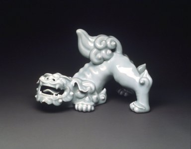 <em>Celadon Karashishi (Chinese lion-dog)</em>, late 18th-early 19th century. White porcelain with celadon glaze (Nabeshima ware), 10 3/8 x 17 1/2in. (26.4 x 44.5cm). Brooklyn Museum, Gift of the Guennol Collection, 1999.70. Creative Commons-BY (Photo: Brooklyn Museum, 1999.70_transp5543.jpg)