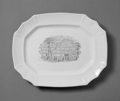 <em>Platter</em>, ca. 1851. Glazed earthenware, 1 1/2 x 13 3/8 x 10 5/8 in.  (3.8 x 34.0 x 27.0 cm). Brooklyn Museum, Gift of Rosemarie Haag Bletter and Martin Filler in memory of Line MacMahon Stein, 1999.74.8. Creative Commons-BY (Photo: Brooklyn Museum, 1999.74.8_bw.jpg)