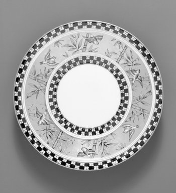 Coalport (ca. 1796-present). <em>Plate</em>, ca. 1891. Porcelain, 1 1/4 x 9 1/4 x 9 1/4 in.  (3.2 x 23.5 x 23.5 cm). Brooklyn Museum, Gift of Rosemarie Haag Bletter and Martin Filler, 1999.74.9. Creative Commons-BY (Photo: , 1999.74.9_1999.74.10_bw.jpg)