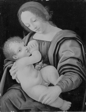 Attributed to Giovanni Antonio Boltraffio (or Beltraffio) (Italian, Milanese, ca. 1467-1516). <em>Madonna and Child, or Nursing Madonna</em>, ca. 1500. Oil on canvas glued to wood panel, 17 x 13 in.  (43.2 x 33.0 cm). Brooklyn Museum, Gift of The Arthur M. Sackler Foundation, 1999.76.2 (Photo: Brooklyn Museum, 1999.76.2_bw.jpg)