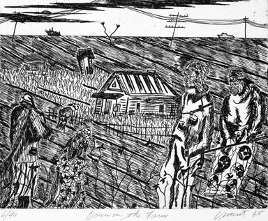Vincent DaCosta Smith (American, 1930-2003). <em>Down on the Farm</em>, 1965; printed 1994. Etching on paper, sheet: 19 11/16 x 16 1/16 in. (50 x 40.8 cm). Brooklyn Museum, Emily Winthrop Miles Fund, 1999.78.3. © artist or artist's estate (Photo: Brooklyn Museum, 1999.78.3_bw.jpg)