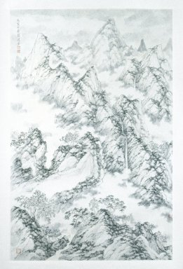 Zhang Hong (Chinese, born 1954). <em>Meander Series: Mountains</em>, 1999. Hanging scroll, ink on paper, 79 3/4 x 33 1/4 in. (202.6 x 84.5 cm). Brooklyn Museum, Purchase gift of B.D.G. Leviton Foundation, 1999.96. © artist or artist's estate (Photo: Brooklyn Museum, 1999.96_IMLS_SL2.jpg)