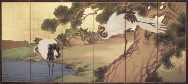 Yokoyama Kazan (Japanese, 1784-1837). <em>Cranes and Pines</em>, 1836. Six-panel screen, opaque watercolor, ink and gold on paper, 66 3/4 x 144 in.  (169.6 x 365.8 cm). Brooklyn Museum, Gift of the Asian Art Council, 1999.97 (Photo: Brooklyn Museum, 1999.97_transp4782.jpg)