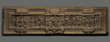 <em>Lintel with Scenes of God Shiva</em>, 19th century. Wood, 10 1/4 x 41 3/4 in.  (26.0 x 106.0 cm). Brooklyn Museum, Gift of Dr. Bertram H. Schaffner, 1999.99.9. Creative Commons-BY (Photo: Brooklyn Museum, 1999.99.9_PS1.jpg)