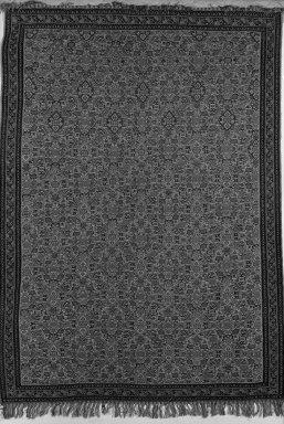 <em>Kilim Weave Rug (Slit Tapestry)</em>, 19th century. Warp: silk Weft: wool, Old Dims: 65 x 47 in. (165.1 x 119.4 cm). Brooklyn Museum, Gift of Samuel P. Avery, 20.10. Creative Commons-BY (Photo: Brooklyn Museum, 20.10_acetate_bw.jpg)