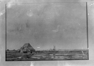 David Muirhead (Scottish, 1867-1930). <em>Dutch Landscape</em>. Watercolor, Sheet: 9 1/2 x 14 in. (24.1 x 35.6 cm). Brooklyn Museum, Gift of a friend, 20.635 (Photo: Brooklyn Museum, 20.635_glass_bw.jpg)