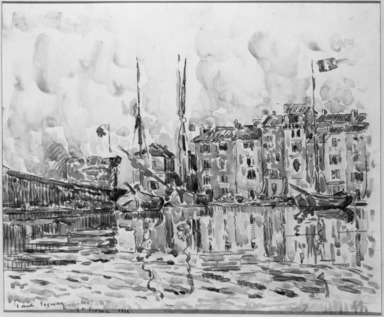 Paul Signac (French, 1863-1935). <em>The Port of St. Tropez</em>, 1914. Watercolor, Sheet: 13 3/4 x 16 3/4 in. (35 x 42.5 cm). Brooklyn Museum, Gift of a friend, 20.642 (Photo: Brooklyn Museum, 20.642_acetate_bw.jpg)