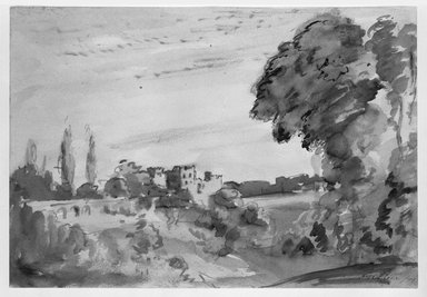 Philip Wilson Steer (British, 1860-1942). <em>Landscape with Castle</em>, 1899. Sepia on heavy wove paper, Sheet: 9 3/4 x 14 1/4 in. (24.8 x 36.2 cm). Brooklyn Museum, Gift of a friend, 20.643 (Photo: Brooklyn Museum, 20.643_bw.jpg)