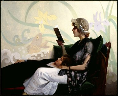 Harry Wilson Watrous (American, 1857-1940). <em>Just a Couple of Girls</em>, 1915. Oil on canvas, 42 1/8 x 52 in. (107 x 132.1 cm). Brooklyn Museum, Gift of Elizabeth Watrous, 20.648 (Photo: Brooklyn Museum, 20.648_SL3.jpg)