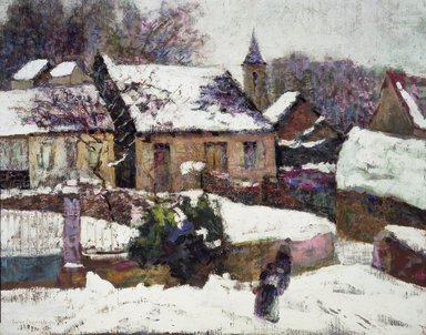 Victor Charreton (French, 1864-1937). <em>Wet Snow, Auvergne</em>, 1899. Oil on canvas, 25 3/8 x 31 11/16 in.  (64.5 x 80.5 cm). Brooklyn Museum, Gift of Alfred W. Jenkins, 20.654 (Photo: Brooklyn Museum, 20.654.jpg)