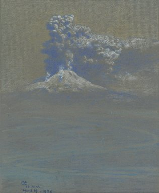 Charles Caryl Coleman (American, 1840-1928). <em>A Shower of Ashes upon Ottaviano</em>, April 14, 1906. Pastel on gray-blue laid paper, mounted to board, Image: 10 9/16 x 8 7/16 in. (26.8 x 21.4 cm). Brooklyn Museum, John B. Woodward Memorial Fund, 20.656 (Photo: Brooklyn Museum, 20.656_PS6.jpg)