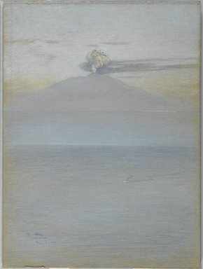 Charles Caryl Coleman (American, 1840-1928). <em>View of Vesuvius: Effect 11:25 A.M.</em>, December 21, 1913. Pastel on grey-blue, medium weight, modereately textured wove paper mounted overall to pulpboard, 24 3/16 x 17 15/16 in. (61.4 x 45.6 cm). Brooklyn Museum, John B. Woodward Memorial Fund, 20.657 (Photo: Brooklyn Museum, 20.657_PS1.jpg)