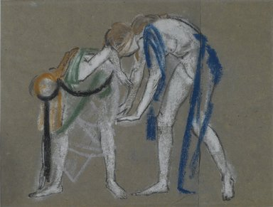 Arthur B. Davies (American, 1862-1928). <em>Study of Two Dancers</em>, ca. 1915-1920. Pastel on two sheets of vertically joined blue-gray laid paper, 14 7/16 x 16 5/16 in. (36.7 x 41.4 cm). Brooklyn Museum, Gift of Walter H. Crittenden, 20.663 (Photo: Brooklyn Museum, 20.663_PS2.jpg)