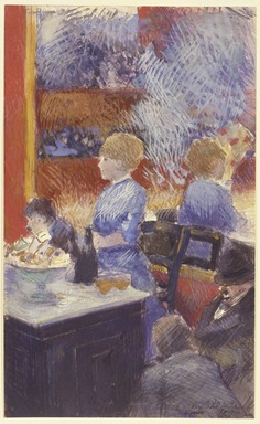 Jean-Louis Forain (French, 1852-1931). <em>The Bar at the Folies-Bergère (Le Bar aux Folies-Bergère)</em>, 1878. Opaque watercolor with graphite underdrawing on paper, 12 1/2 x 7 3/4 in. (31.8 x 19.7 cm). Brooklyn Museum, Gift of a friend, 20.667 (Photo: Brooklyn Museum, 20.667_SL3.jpg)