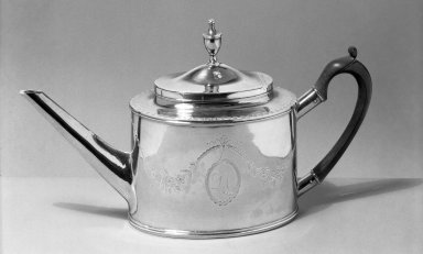 John Vernon (American, 1768-1815). <em>Teapot</em>, ca. 1795. Silver, 7 1/16 x 12 3/16 in. (18 x 31 cm). Brooklyn Museum, Bequest of Samuel E. Haslett, 20.782. Creative Commons-BY (Photo: Brooklyn Museum, 20.782_acetate_bw.jpg)