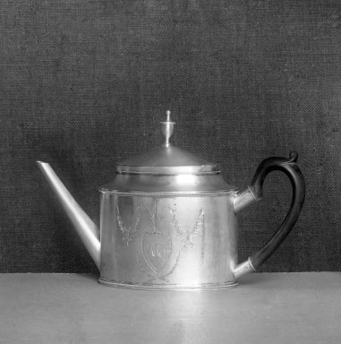 John Vernon (American, 1768-1815). <em>Teapot</em>, ca. 1795. Silver, height x width: 7 7/8 x 12 3/16 in. (20 x 31 cm). Brooklyn Museum, Bequest of Samuel E. Haslett, 20.792. Creative Commons-BY (Photo: Brooklyn Museum, 20.792_glass_bw.jpg)