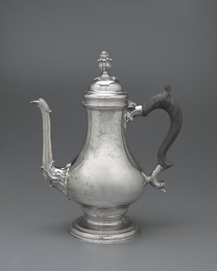 Daniel Christian Fueter (Swiss, 1720-1785). <em>Coffee Pot</em>, ca. 1765. Silver with wooden handle, 12 1/8 x 6 x 10 in. (30.8 x 15.2 x 25.4 cm). Brooklyn Museum, Bequest of Samuel E. Haslett, 20.796. Creative Commons-BY (Photo: Brooklyn Museum, 20.796_PS6.jpg)