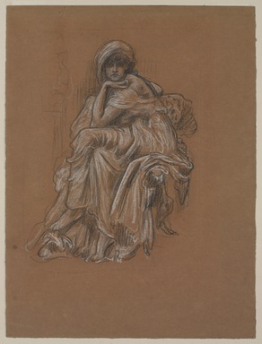 "Lord Frederick Leighton (British, 1830-1896). <em>Study for the Painting ""Sybil.""</em> . Charcoal and chalk on wove paper, Sheet: 14 9/16 x 10 7/8 in. (37 x 27.6 cm). Brooklyn Museum, Gift of Russell Barrington, 20.831 (Photo: , 20.831_PS9.jpg)"