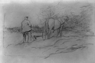 Anton Mauve (Dutch, 1838-1888). <em>Ploughing</em>. Charcoal drawing on wove paper, Sheet: 9 13/16 x 13 1/4 in. (25 x 33.7 cm). Brooklyn Museum, Frank Sherman Benson Fund, 20.832 (Photo: Brooklyn Museum, 20.832_acetate_bw.jpg)