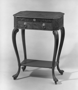 Attributed to Duncan Phyfe (American, born Scotland, 1768-1854). <em>Work Table</em>, 1814-1825. Rosewood, Height: 30 5/16 in. (77 cm). Brooklyn Museum, Bequest of Samuel E. Haslett, 20.890. Creative Commons-BY (Photo: Brooklyn Museum, 20.890_acetate_bw.jpg)