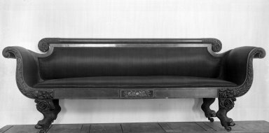 American. <em>Empire Sofa</em>, 19th century. Mahogany, 33 1/16 x 22 1/16 x 76 3/4 in. (84 x 56 x 195 cm). Brooklyn Museum, Bequest of Samuel E. Haslett, 20.891. Creative Commons-BY (Photo: Brooklyn Museum, 20.891_glass_bw.jpg)