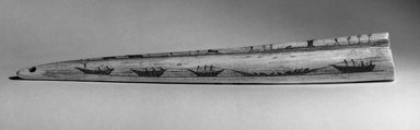 Native Alaskan. <em>Engraved Tusk</em>, late 19th century. Walrus tusk, black ash or graphite, oil, 14 13/16 x 2 5/16 in. (37.6 x 5.9 cm). Brooklyn Museum, Gift of Robert B. Woodward, 20.894. Creative Commons-BY (Photo: Brooklyn Museum, 20.894_acetate_bw.jpg)