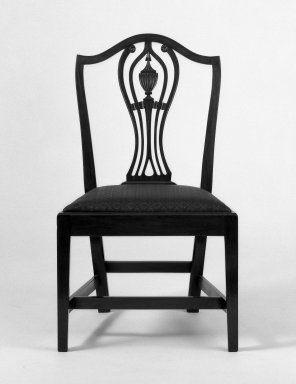 American. <em>Six Side Chairs</em>, ca. 1800. Hepplewhite style with straight legs, 38 x 21 3/4 x 17 1/2 in. (96.5 x 55.2 x 44.5 cm). Brooklyn Museum, Bequest of Samuel E. Haslett, 20.903.1-.6. Creative Commons-BY (Photo: Brooklyn Museum, 20.903.1_bw.jpg)