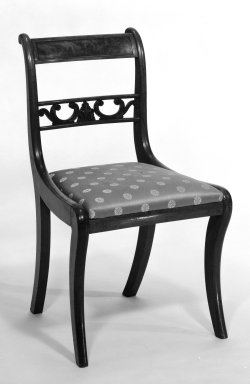 American. <em>Chair</em>, ca. 1820. Mahogany, modern upholstery, 32 1/2 x 18 1/4 x 15 1/4 in.  (82.6 x 46.4 x 38.7 cm). Brooklyn Museum, Gift of Adrian and Henry B. Van Sinderen, 20.910.10. Creative Commons-BY (Photo: Brooklyn Museum, 20.910.10_bw.jpg)