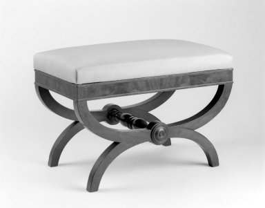 American. <em>Bench</em>, ca. 1830. Mahogany, modern textile, 18 1/2 x 27 x 15 in. (47 x 68.6 x 38.1 cm). Brooklyn Museum, Bequest of Samuel E. Haslett, 20.913. Creative Commons-BY (Photo: Brooklyn Museum, 20.913_bw.jpg)